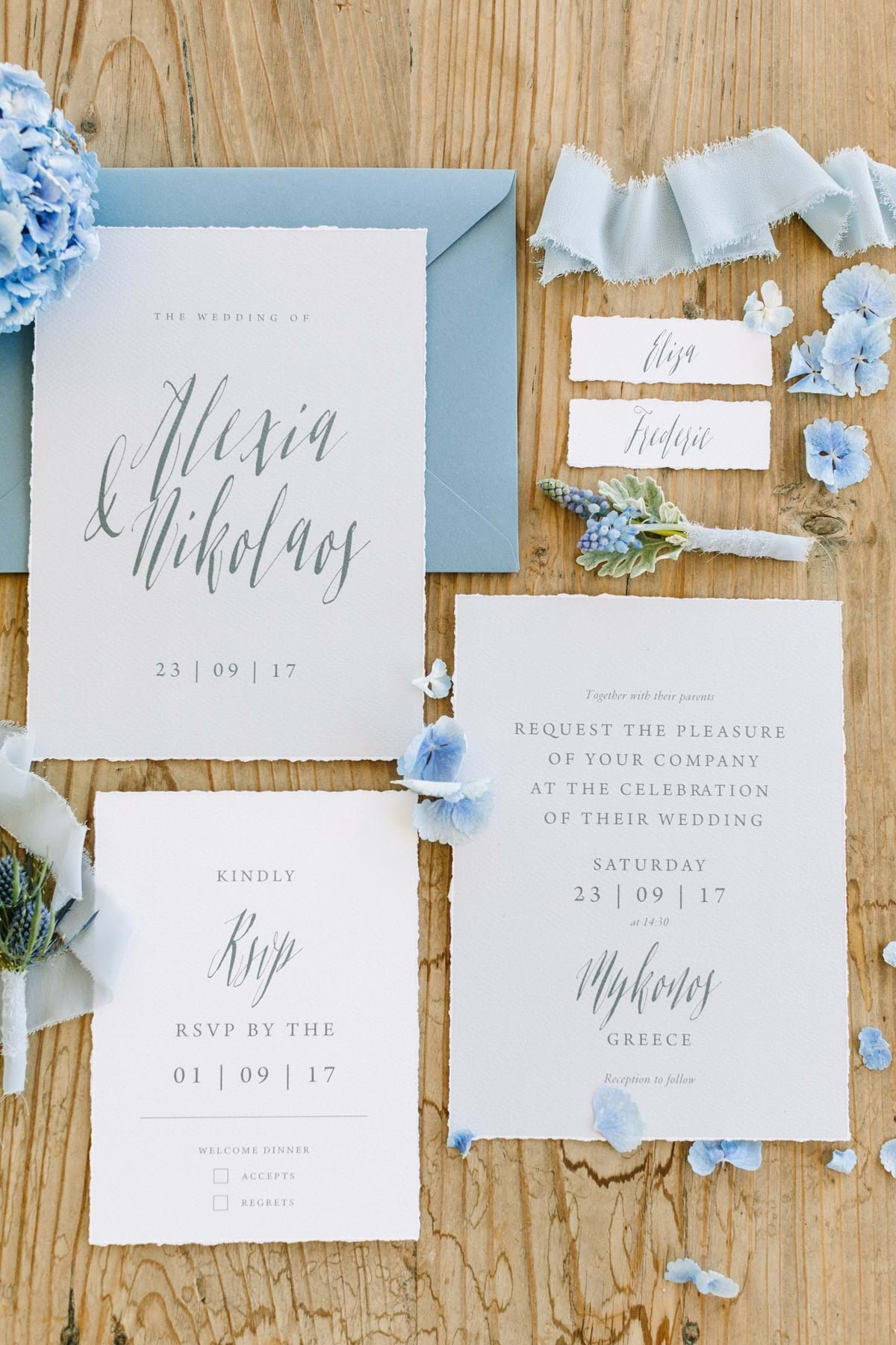 Unique Bohemian-Chic Destination Wedding Invitation & Stationery in Dusty Blue for a Mykonos Island Beach Wedding